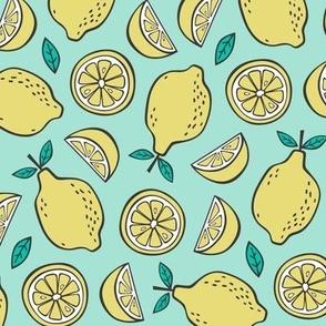 Lemon Citrus on Mint Green