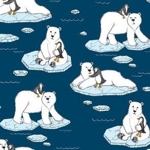 Polar Bear Loves Penguin - navy blue