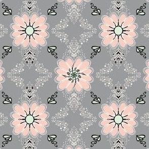 033 Peach flowers - black outline