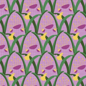 16-21D Abstract Easter Lily Floral on Lilac_Miss Chiff Designs