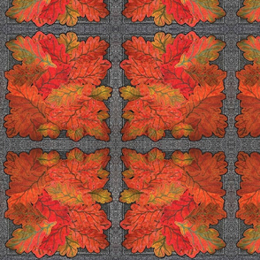 Quilted Autumn Oak Leaves on Grey Stone