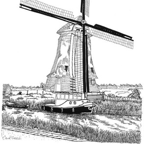 Windmill and Boat, The Netherlands