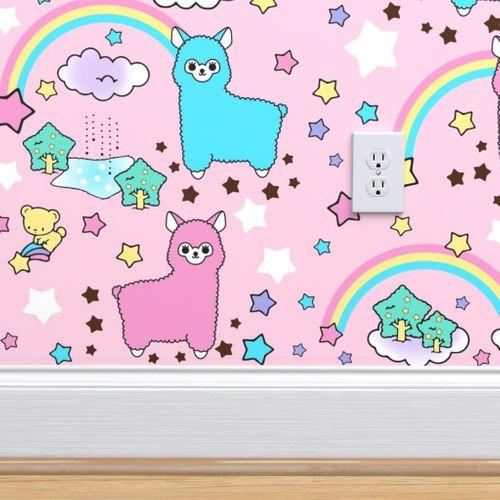 Wallpaper 6 Stars Rainbows Clouds Trees Ponds Lakes Teddy Bears Shooting Cats Fairy Kei Lolita Sky Skies Alpacas Kawaii Japanese Inspired Moon Castles