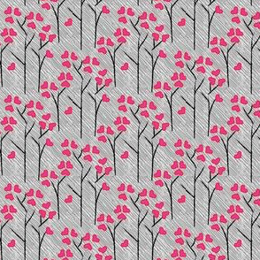 SMALL Love Tree Heart Leaf Leaves Forest Valentine  Rainy Day || Pink Gray White Black _Miss Chiff Designs