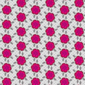16-08Q Small Hot Pink Abstract Floral || Gray Grey Polka Dot Daisy Flower Spot _Miss Chiff Designs
