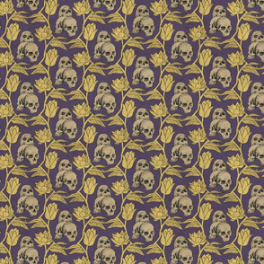 Skulls and Flowers Purple