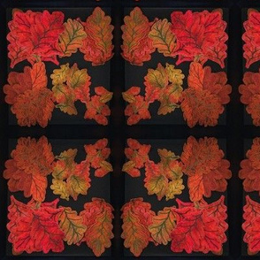 Quilted Autumn Oak Leaves Mirrored