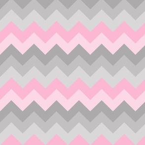 Pink Grey Gray Ombre Chevron SMALLER SIZE