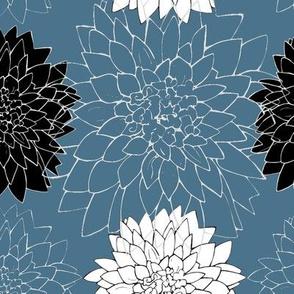Dahlia Blooms on smoke blue