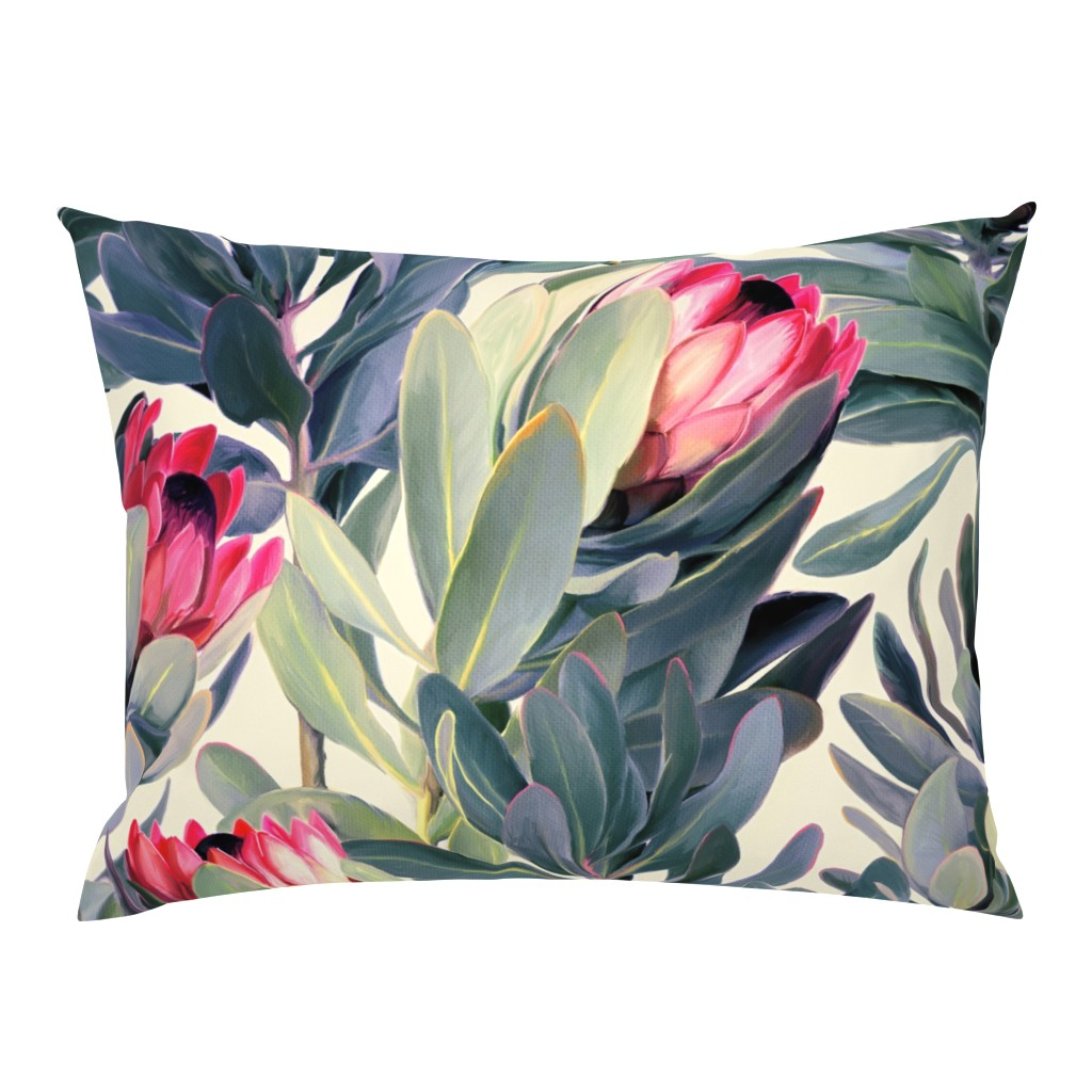 Campine Pillow Sham featuring Painted Protea Floral Extra Large Version by micklyn