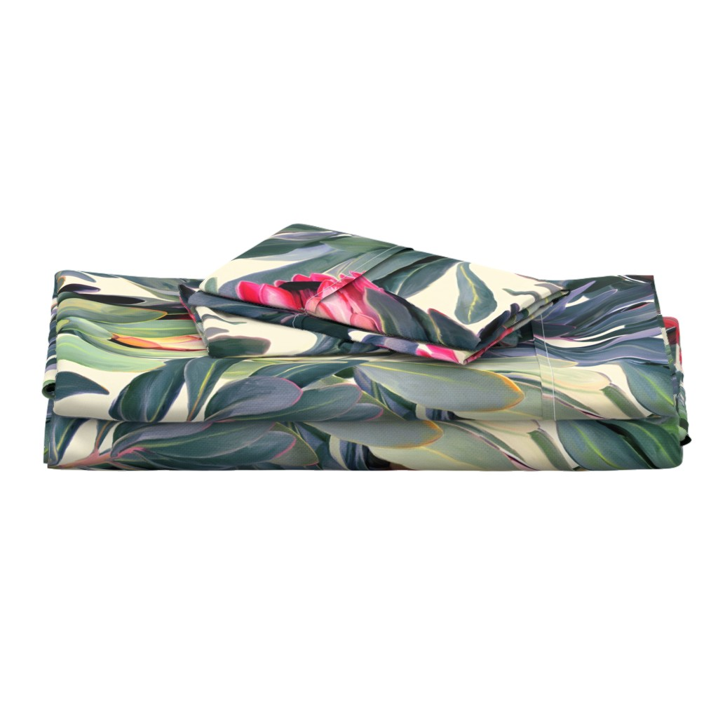 Langshan Full Bed Set featuring Painted Protea Floral Extra Large Version by micklyn