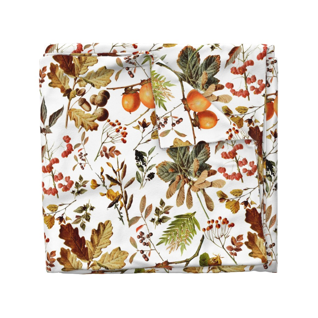 Wyandotte Duvet Cover featuring vintage botanical autumn by redbriarstudio