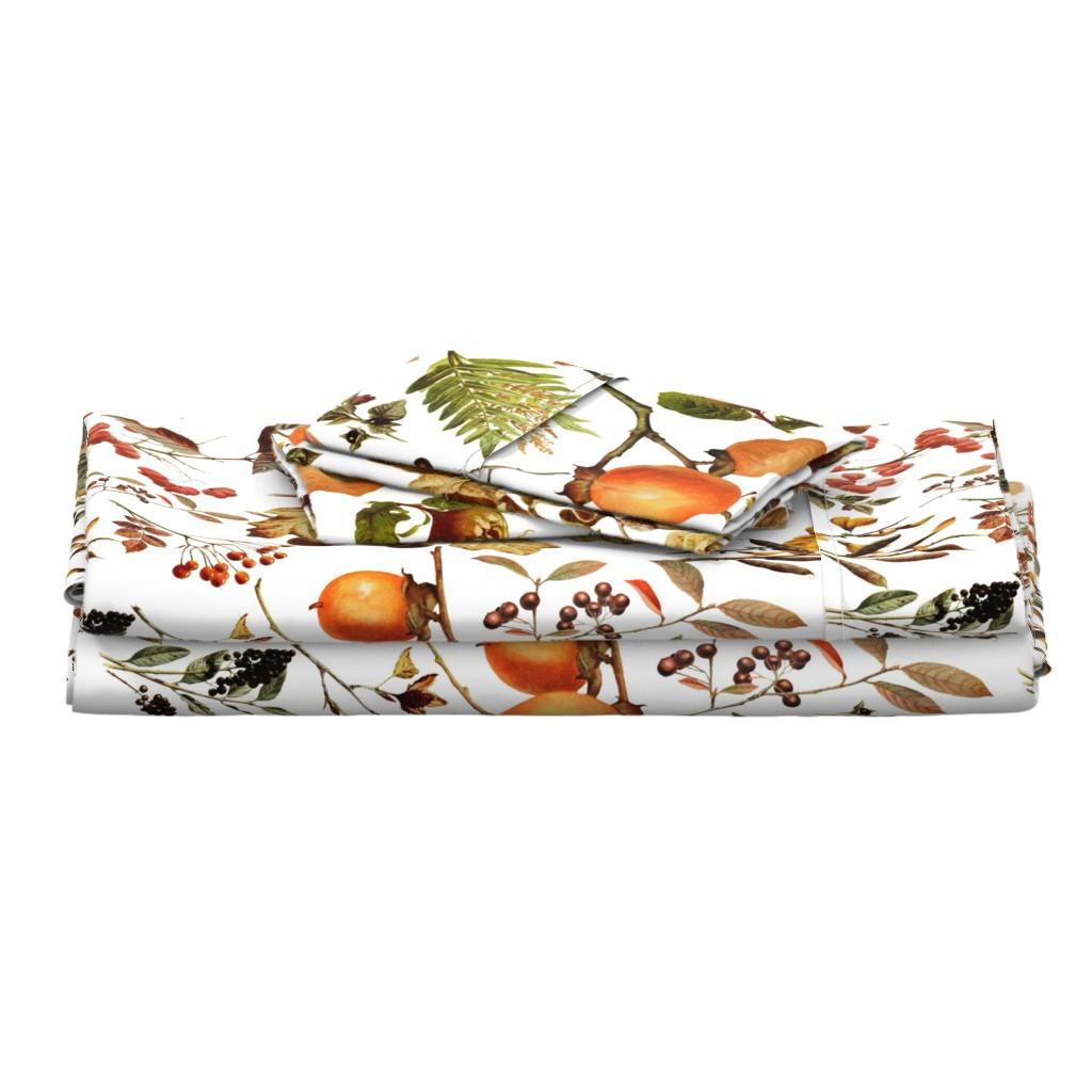 Langshan Full Bed Set featuring vintage botanical autumn by redbriarstudio