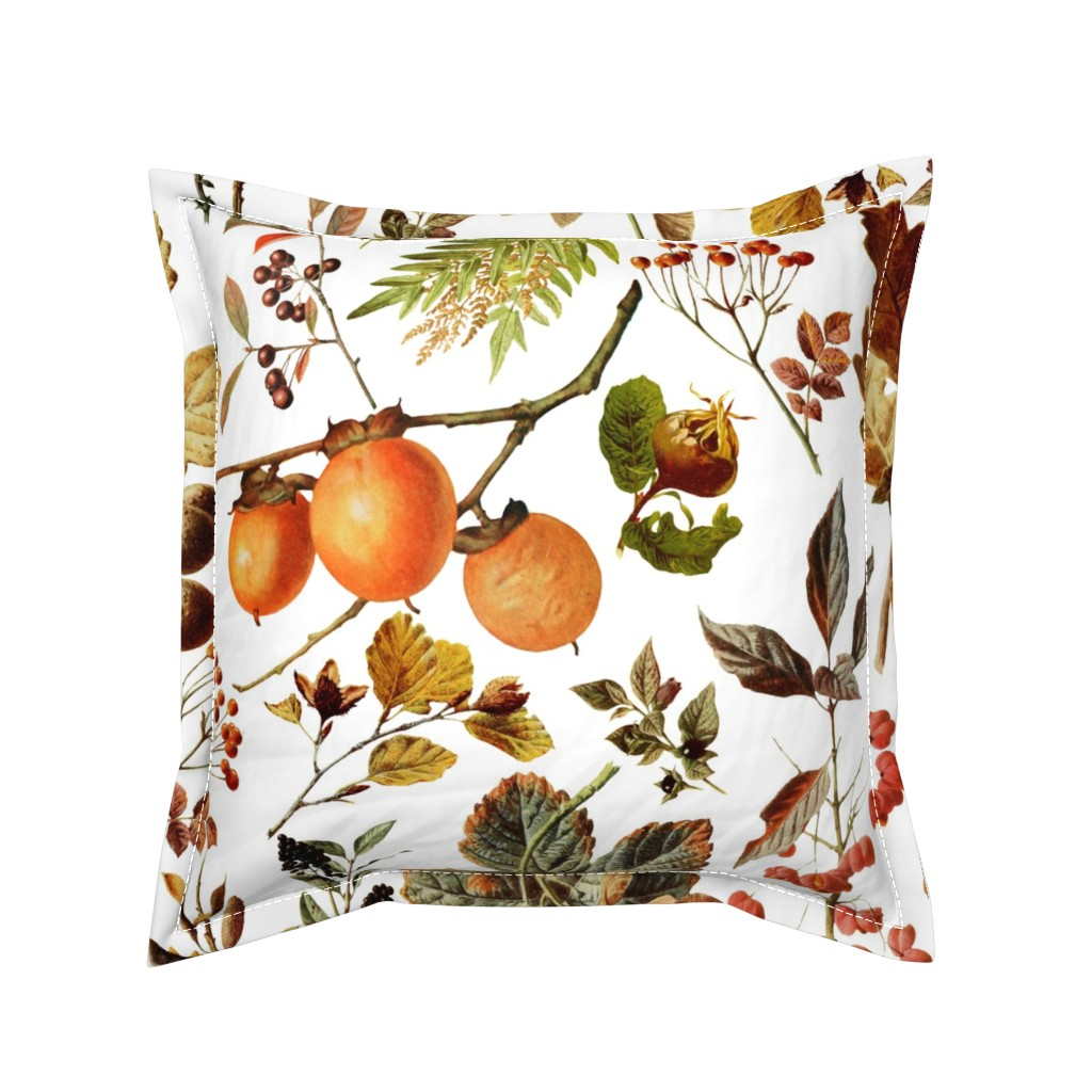 Serama Throw Pillow featuring vintage botanical autumn by redbriarstudio