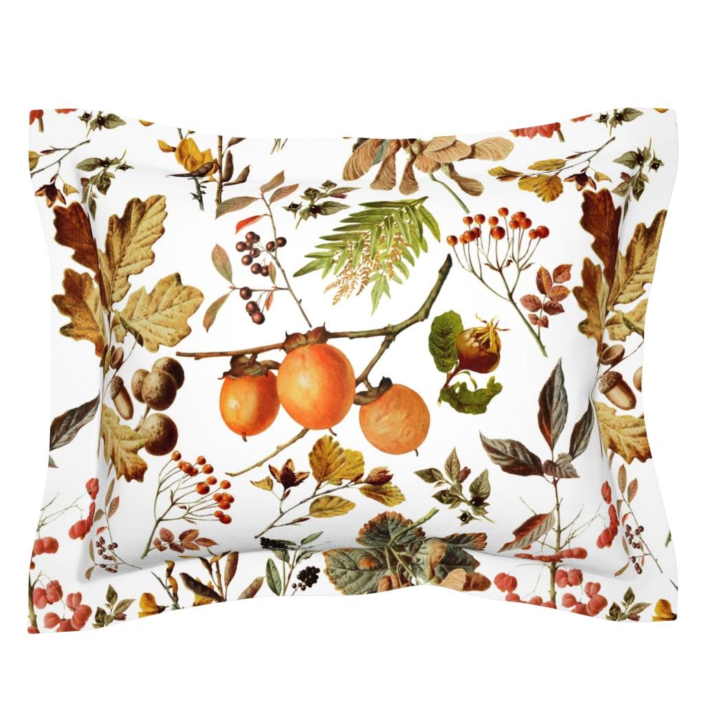 Sebright Pillow Sham featuring vintage botanical autumn by redbriarstudio