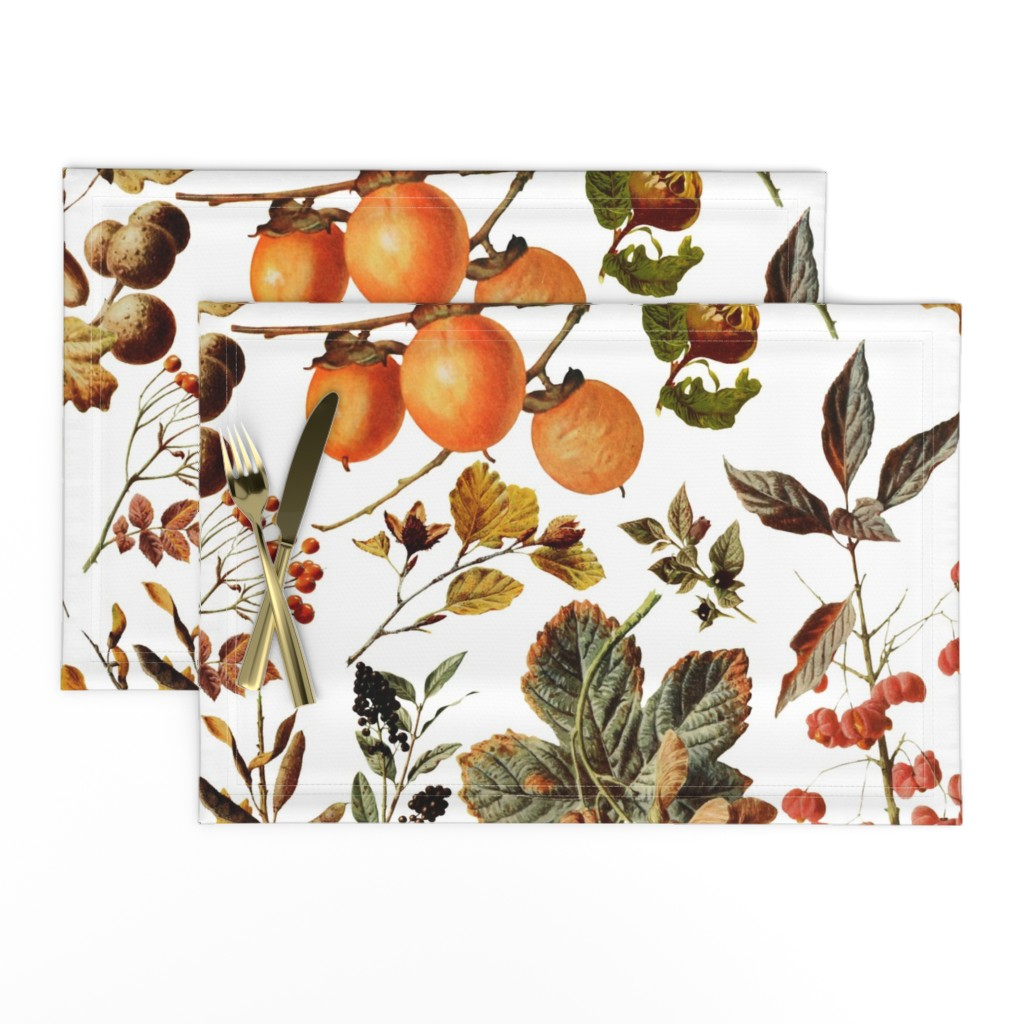 Lamona Cloth Placemats featuring vintage botanical autumn by redbriarstudio