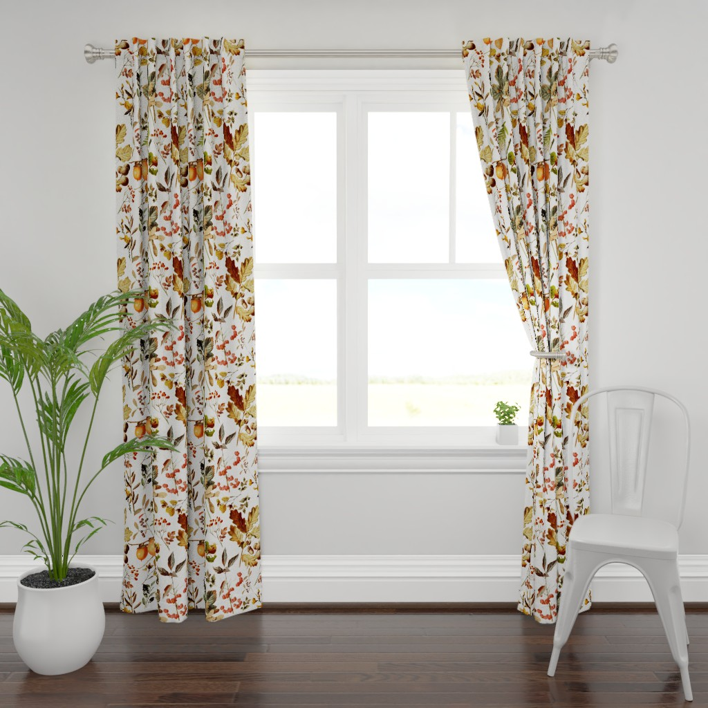 Plymouth Curtain Panel featuring vintage botanical autumn by redbriarstudio
