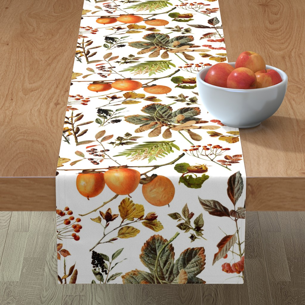 Minorca Table Runner featuring vintage botanical autumn by redbriarstudio