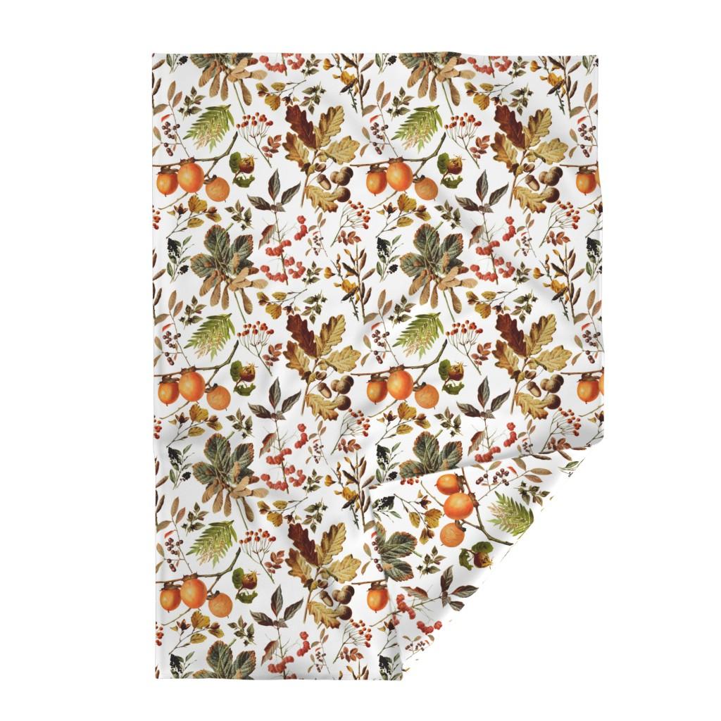 Lakenvelder Throw Blanket featuring vintage botanical autumn by redbriarstudio