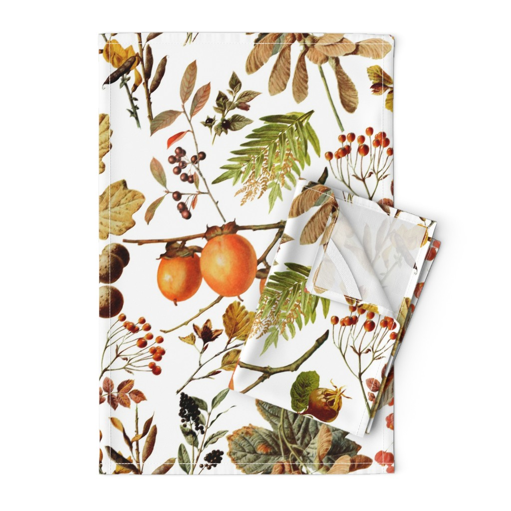 Orpington Tea Towels featuring vintage botanical autumn by redbriarstudio