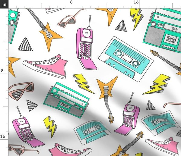 Fabric by the Yard 90s Life // 90s Style Illustrations on Fabric, Wallpaper  & Gift Wrap // 90s Style Colors
