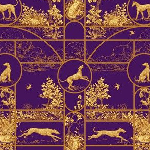 Autumn Purple Stained Glass Small, Toile Greyhounds