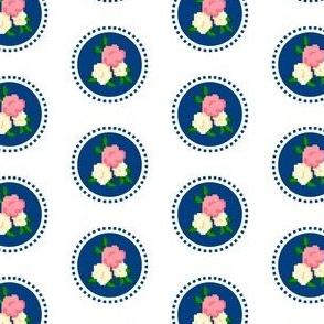 Pixel Rose Polka Dot Navy
