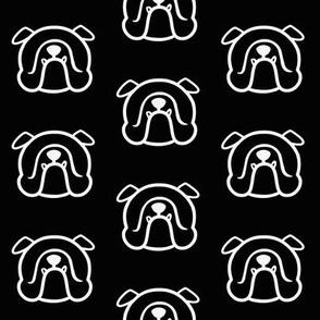 English Bulldog silhouette in white & black