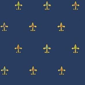 fleur de lis - gold jewels on blue ©2011