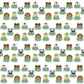 Peeping zoo animals on white background