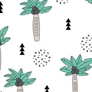 Cool summer geometric palm tree tropical holiday design gender neutral black and white beige green LARGE