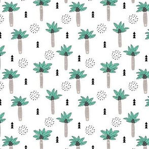 Cool summer geometric palm tree tropical holiday design gender neutral black and white beige green