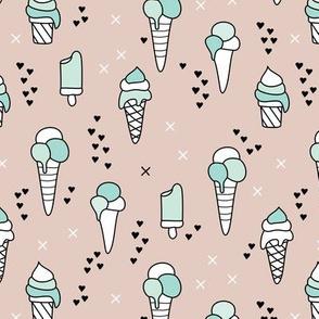 Cute ice cream popsicle cream candy dream kids illustration i love summer scandinavian style gender neutral mint beige