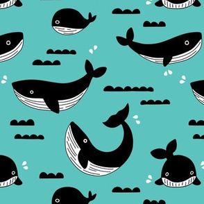 Black and white whale ocean theme illustration design under water world sea life blue