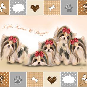 Biewer/Parti/Yorkie Live, Love & Doggies Quilt Panel