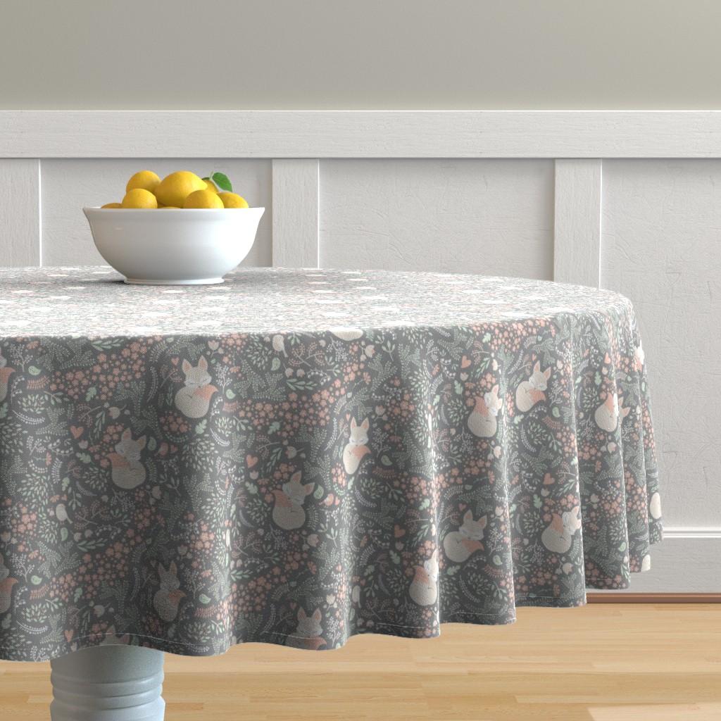 Malay Round Tablecloth featuring Sleeping Fox - grey - small by ewa_brzozowska