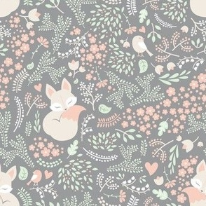 Sleeping Fox - grey - small