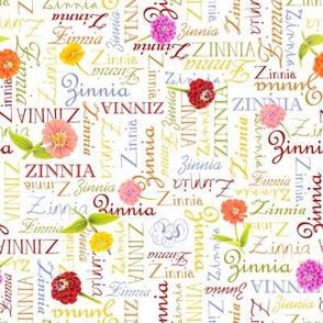 Sunbow Zinnia Words