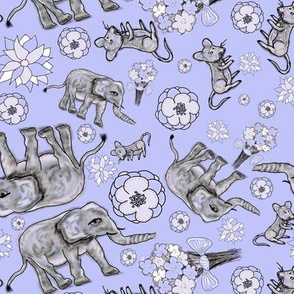 ELEPHANT MOUSE FLOWERS MORNING scattered periwindle blue purple PSMGE