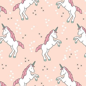 Unicorn love rainbow dreams girls fantasy horse in pastel beige coral pink