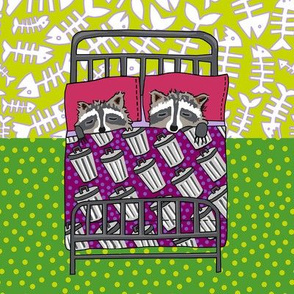 quilt block 3 of 4: dream raccoon