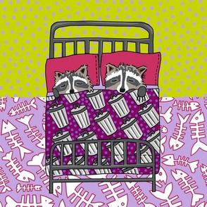 quilt block 1 of 4: dream raccoon