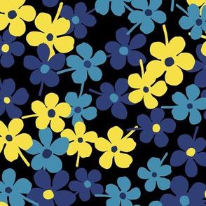 Flower Garden Blue Yellow - Dark
