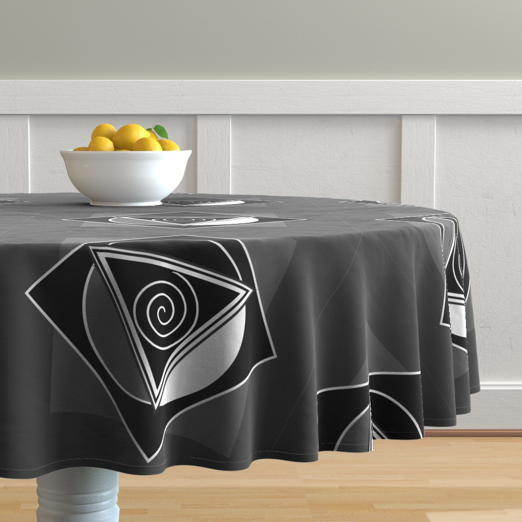 Malay Round Tablecloth featuring Triple-Goddess-Triangle Monotone by magicinyourlivingroom