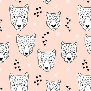 Cool leopard safari animals sweet baby panther love geometric kids illustration peach
