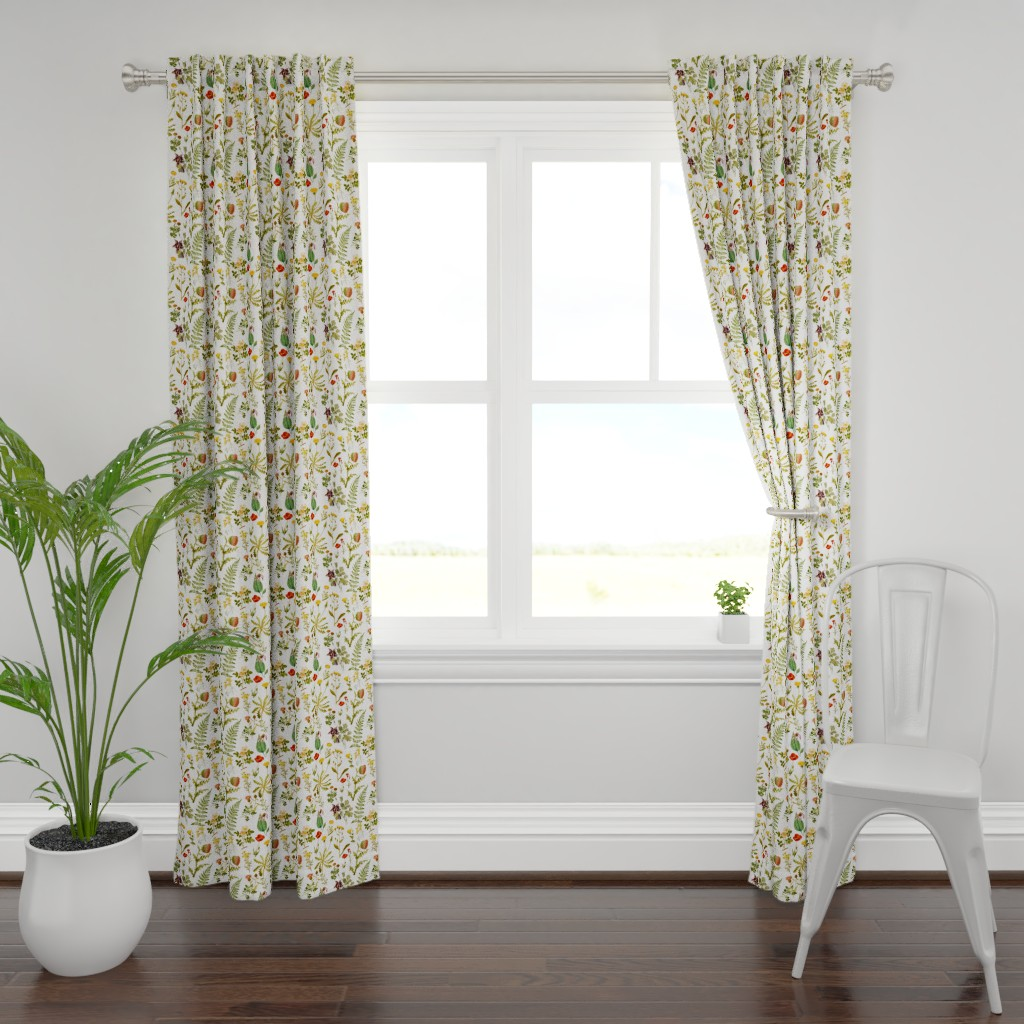 Plymouth Curtain Panel featuring vintage botanical wildflowers-small by redbriarstudio