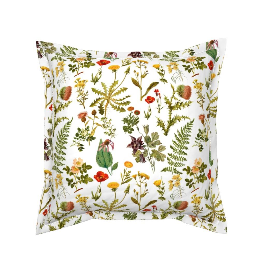 Serama Throw Pillow featuring vintage botanical wildflowers-small by redbriarstudio