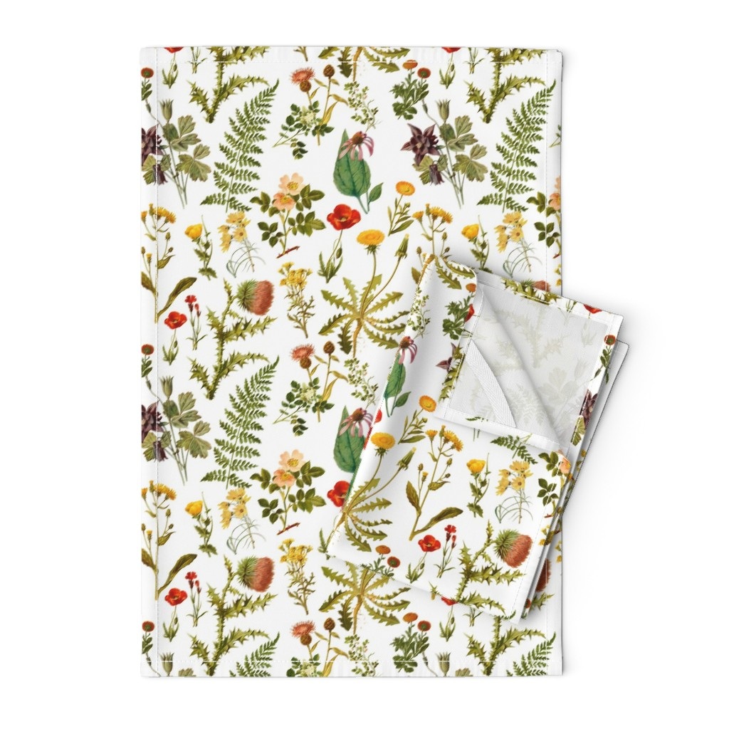 Orpington Tea Towels featuring vintage botanical wildflowers-small by redbriarstudio
