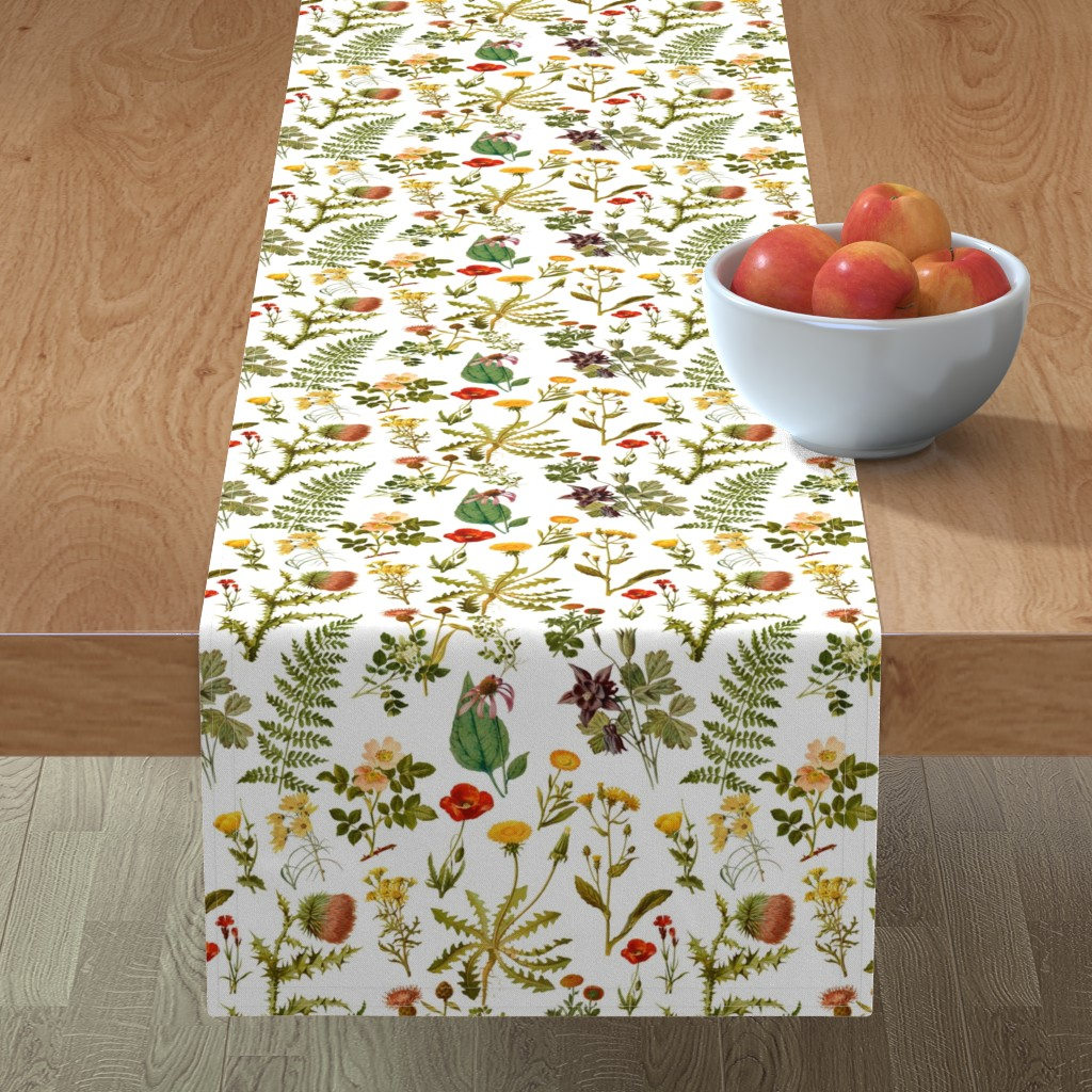 Minorca Table Runner featuring vintage botanical wildflowers-small by redbriarstudio