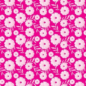 16-08P White Daisy Floral Botanical on Hot Pink_Miss Chiff Designs